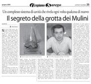 06-06-2003 Coriere Vicentino  Il segreto della grotta dei Mulini.