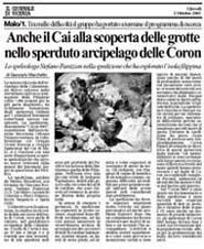 02-10-2003 Il Giornale di Vicenza-Alla scoperta delle grotte del Coron.