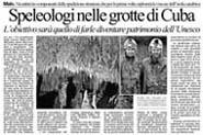 12-11-2004 Il Giornale di Vicenza-Speleologi nelle grotte di Cuba.